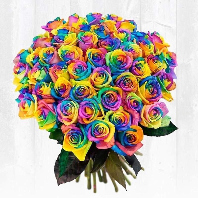 Заказ цветов радужные розы